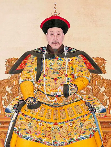 Qianlong Emperor wearing the royal yellow dress